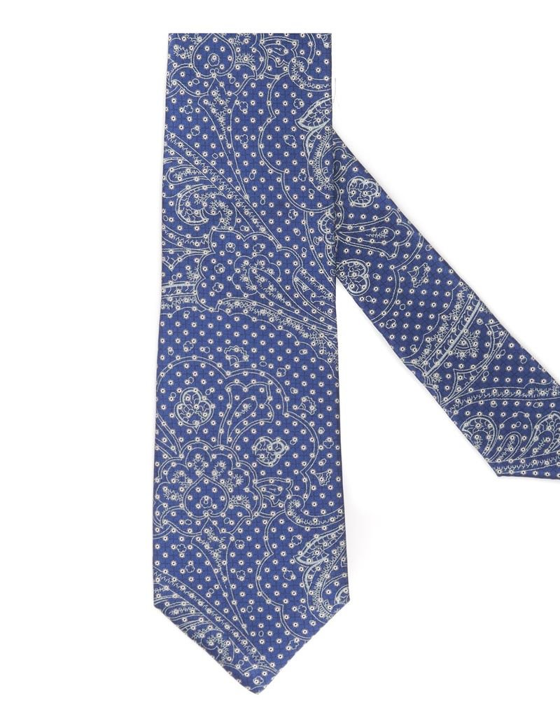 Navy Tie with Silver thread, Microdot and Ghost Paisley Pattern