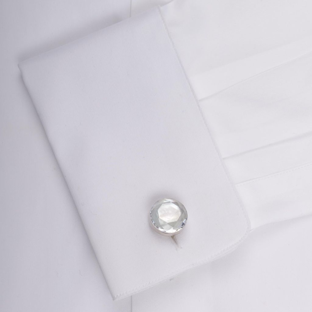 White Faceted Crystal in Sterling Silver Cufflinks