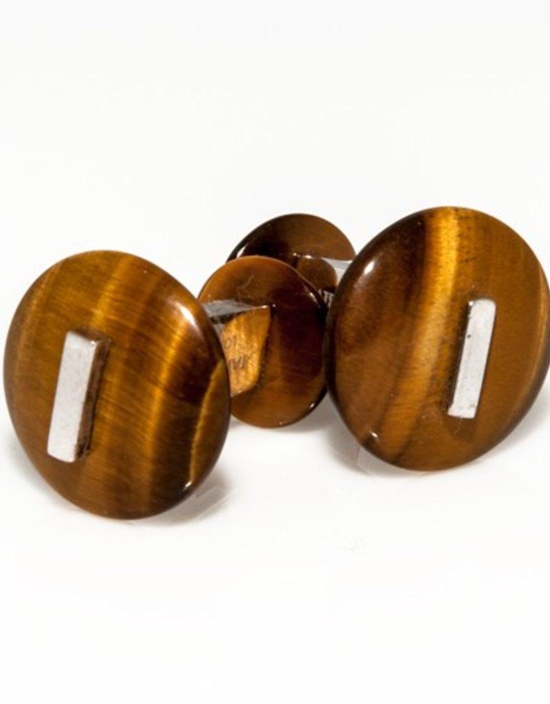 Tiger Eye Button set in 925 Sterling Silver Cufflinks