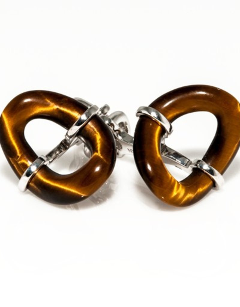 Tiger Eye Loop in 925 Sterling Silver Cufflinks