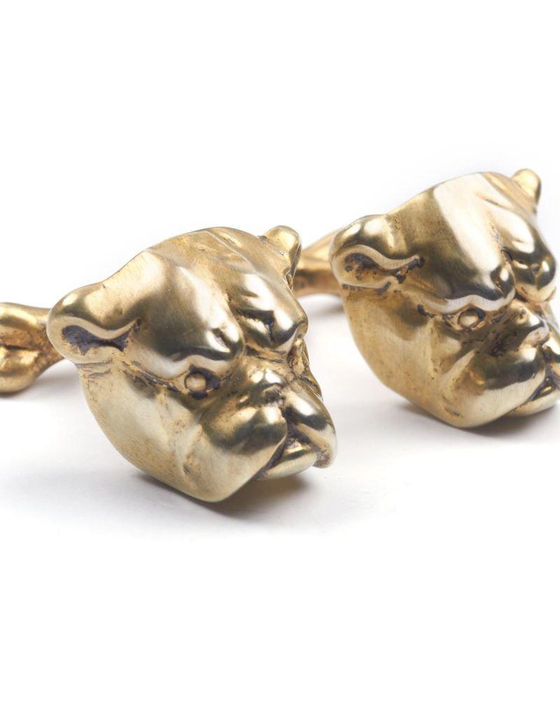 Brushed gold plated bulldog cufflinks
