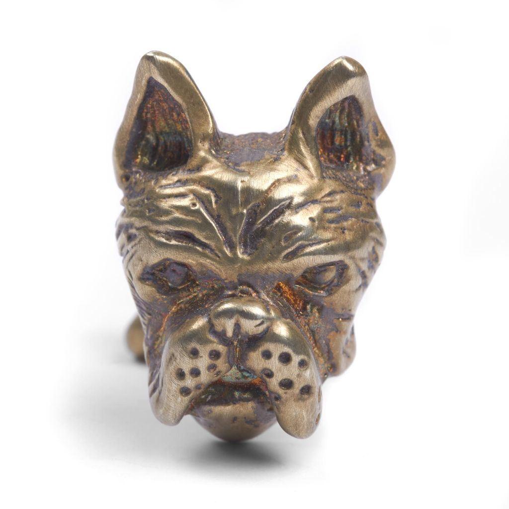 Brushed gold plated French bulldog cufflinks