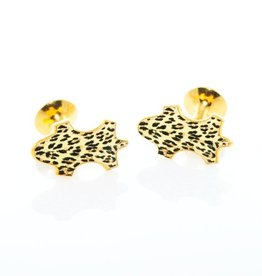Leopard Enameled Gold Cufflinks