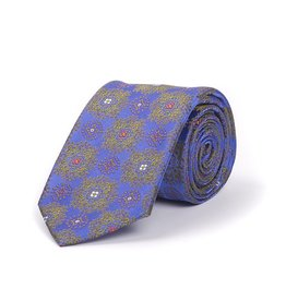 Woven Silk Tie with Green Arabesque
