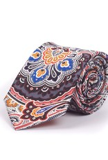 Silk Tie, Gray with Orange Exploding Paisly