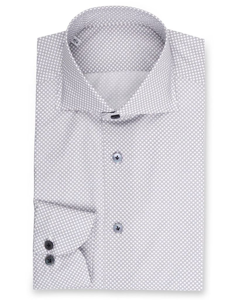 Geometric micro dot, Printed Poplin Shirt