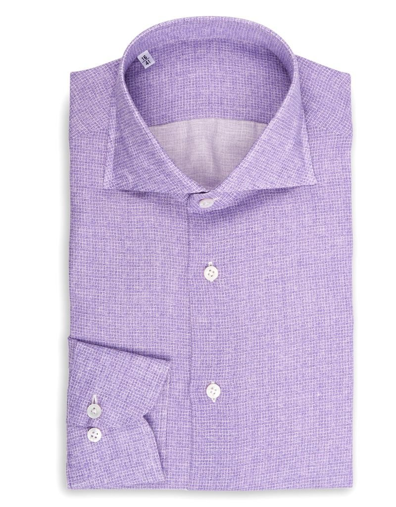Printed Linen Shirt with small Purple Check