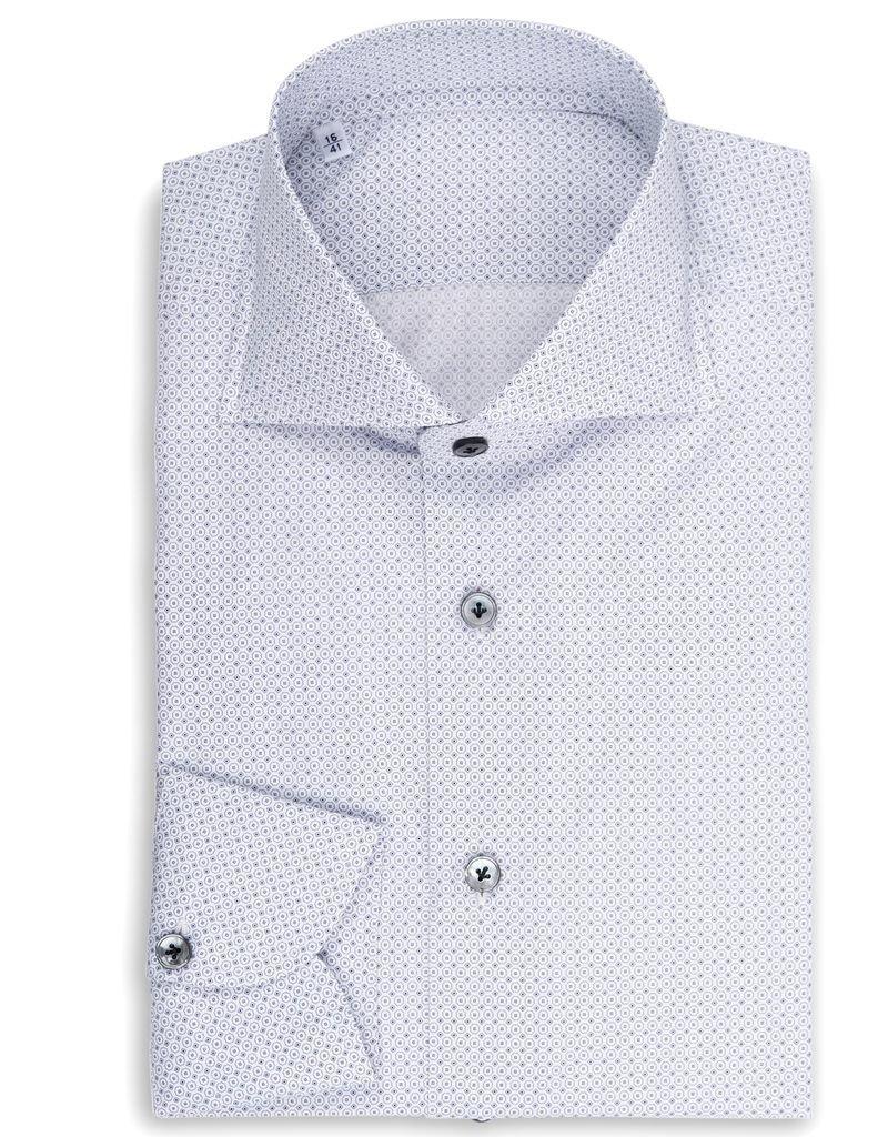 Micro dot and circle, Printed Poplin Shirt