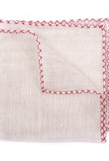 HANDCRAFTED linen with Red Cross Stitch edge