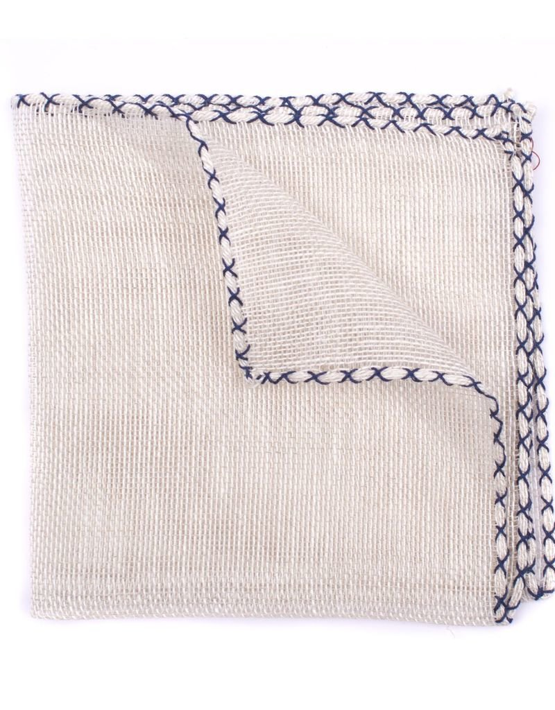 HANDCRAFTED linen with Navy Cross Stitch edge