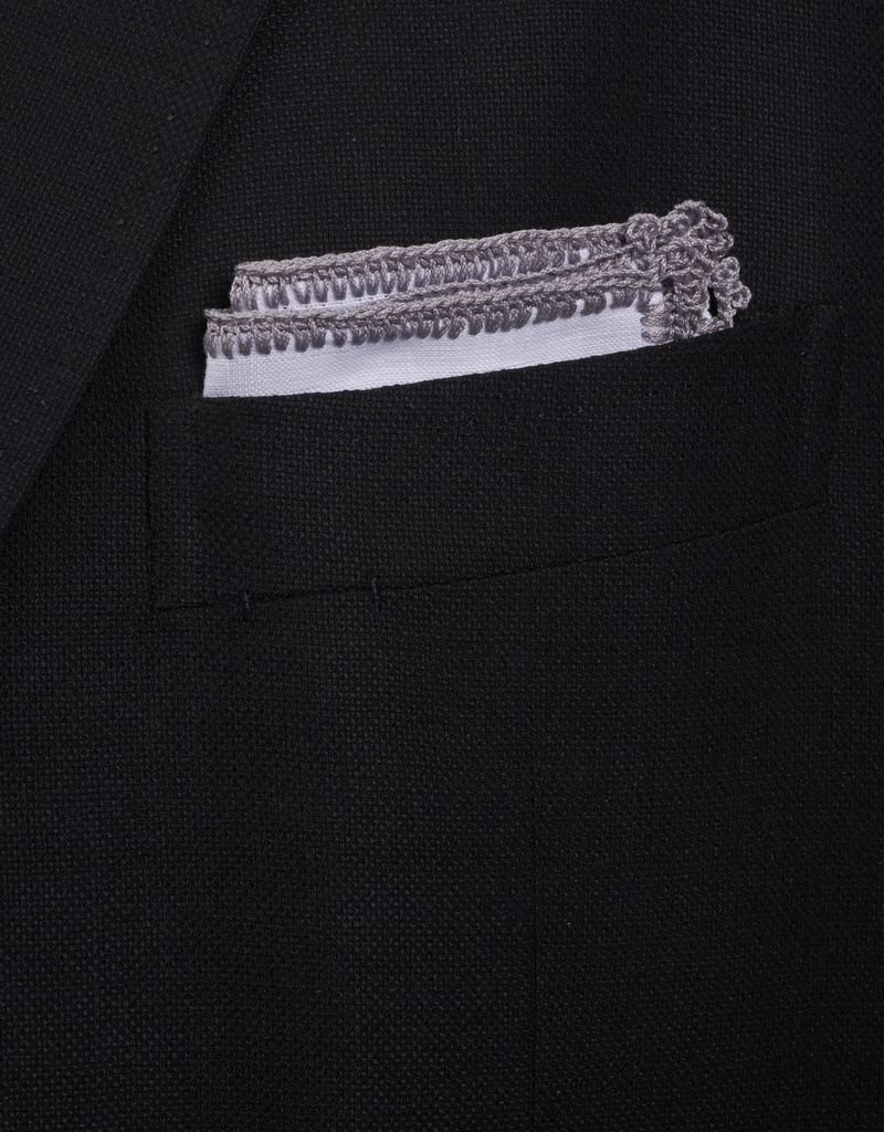 Linen pocket square with gray crochet edge