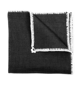Linen pocket square, Black with white crochet edge