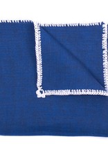 Linen pocket square, Blue with white crochet edge