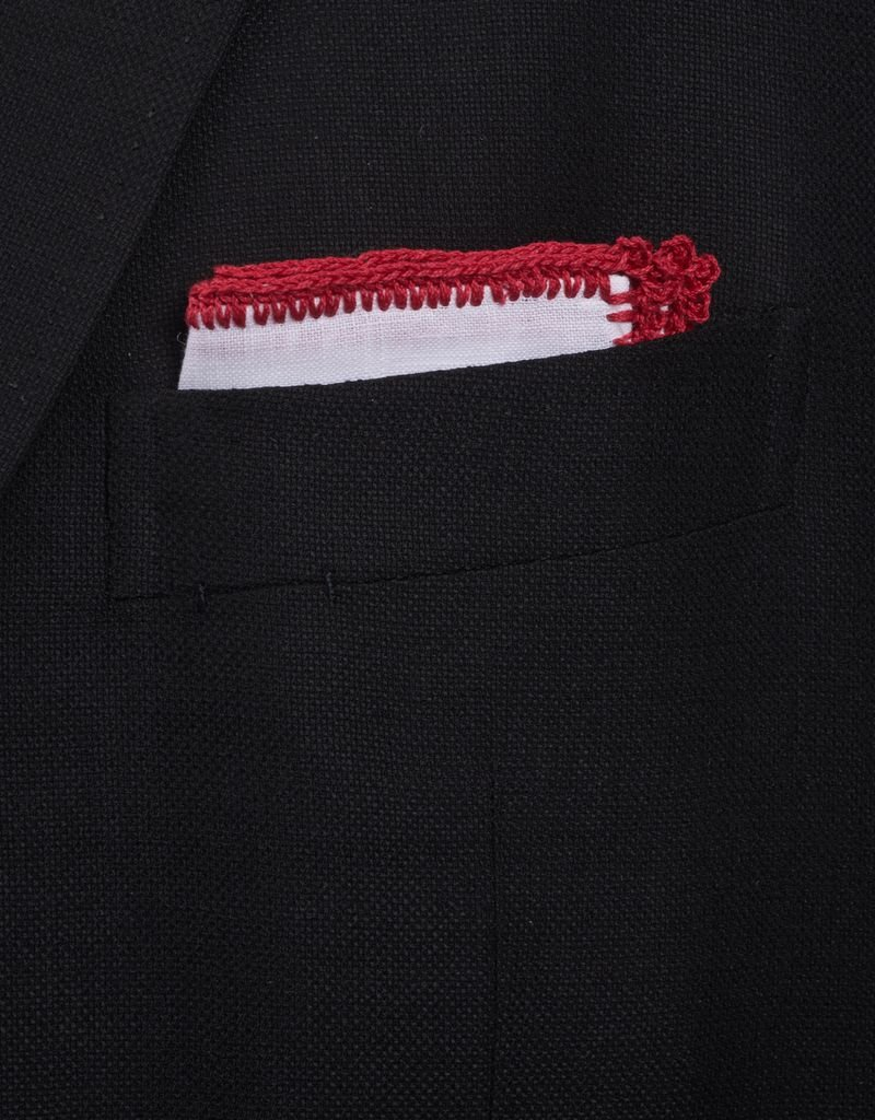 Linen pocket square with red crochet edge