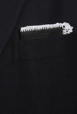 Linen pocket square, Black with white crochet edge