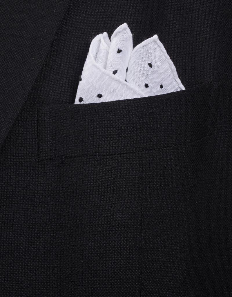Pure Linen with Black embroidered dots