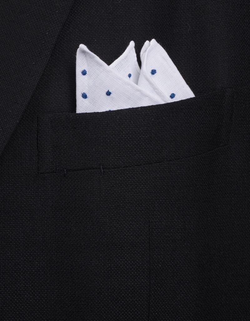 Pure Linen with blue embroidered dots