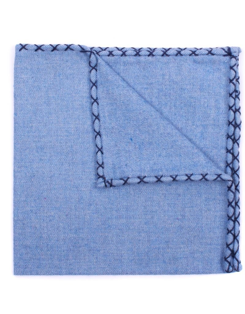 Flannel Pocket Square, Lt. Blue with Navy
