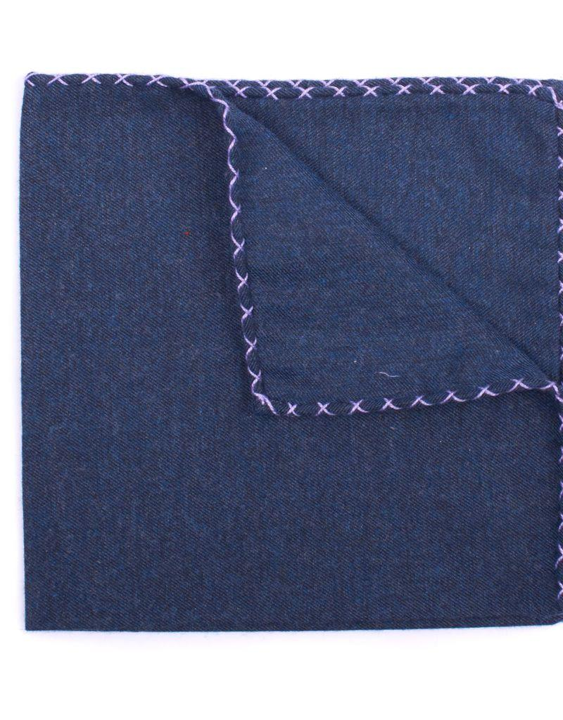 Flannel Pocket Square, Navy with Lavender