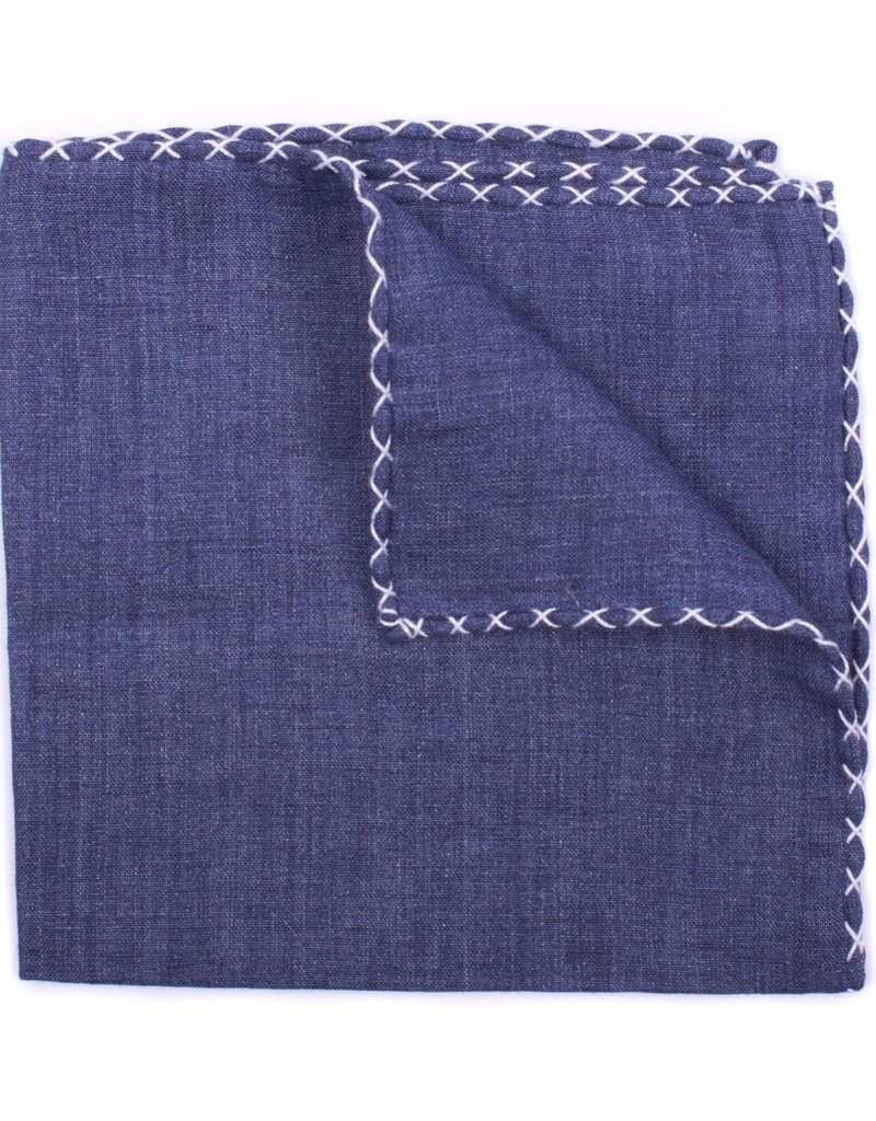 Linen Pocket Square, Denim with White