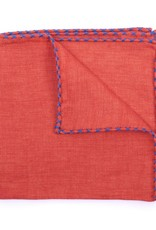 Linen Pocket Square, Orange with Blue