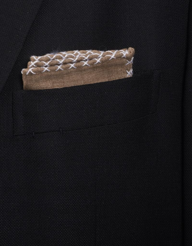 Linen Pocket Square, Brown with White