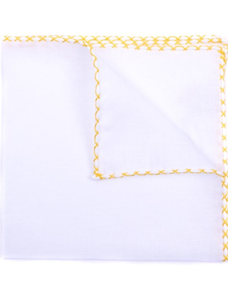 Linen Pocket Square, White with Yellow