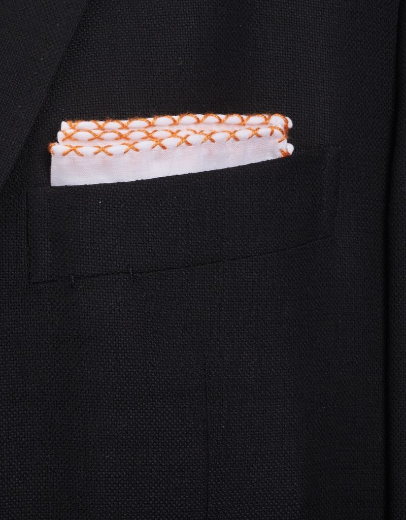 Linen Pocket Square, White with Orange