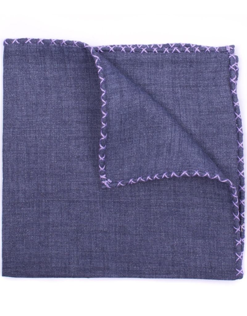 Linen Pocket Square, Denim with Lavender