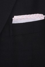 Linen Pocket Square, White with Pink