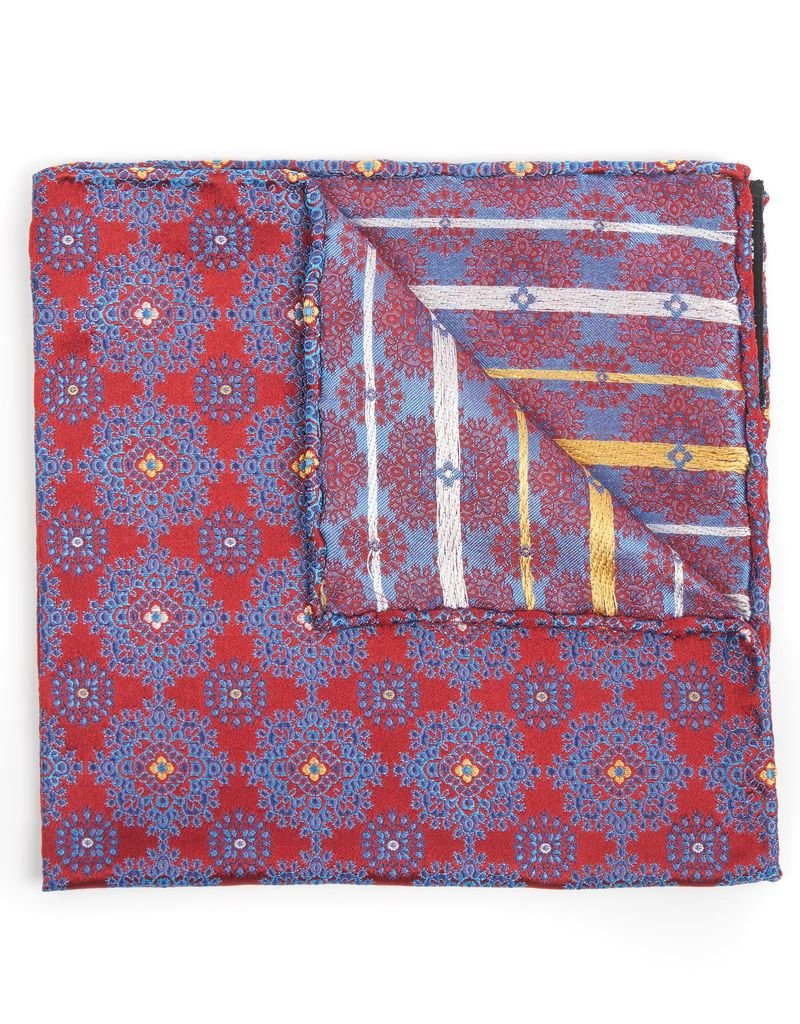 Medallion brocade, Red and Navy
