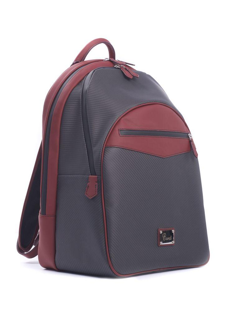 Carbon Fiber and Leather Backpack, Red