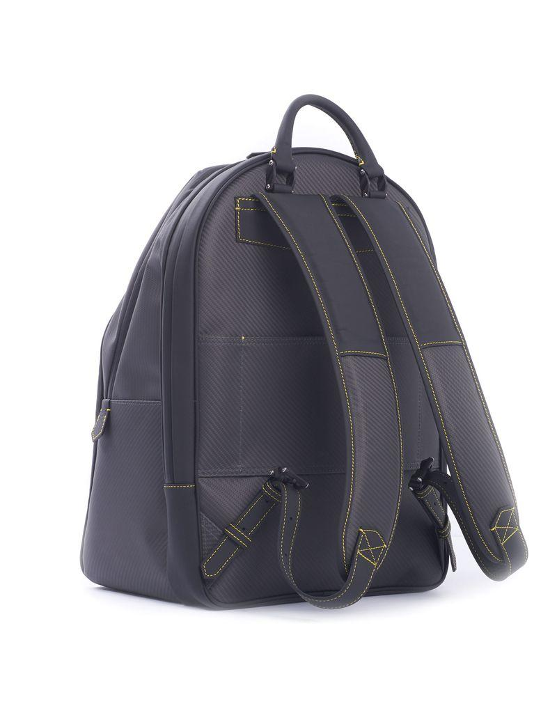 Carbon Fiber and Leather Backpack, Yellow Stitch