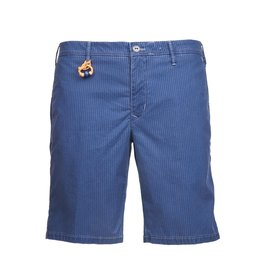 Striped Twill Shorts. Blue