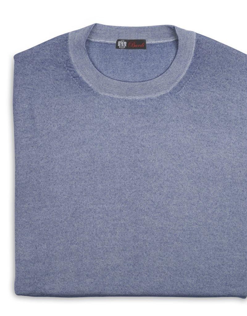 Cashmere / Silk Crew Neck Sweater, Lt. Blue
