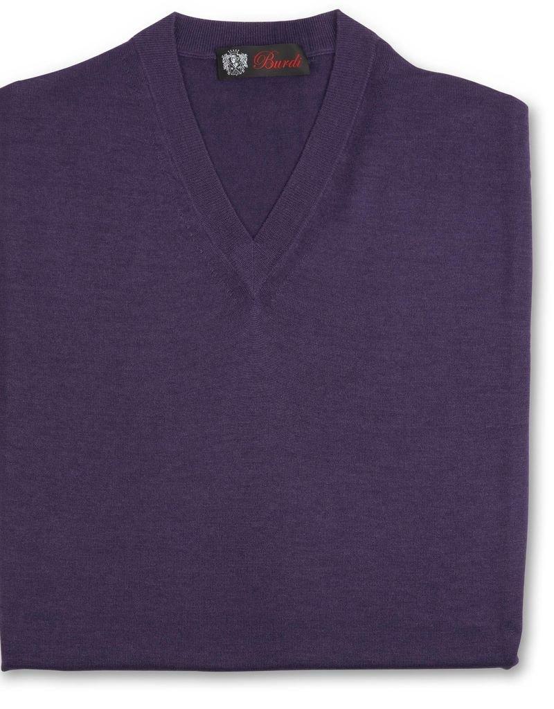 Cashmere / Silk V Neck Sweater, Purple