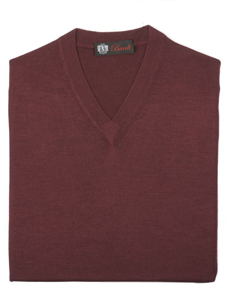 Cashmere / Silk V Neck Sweater, Burgundy