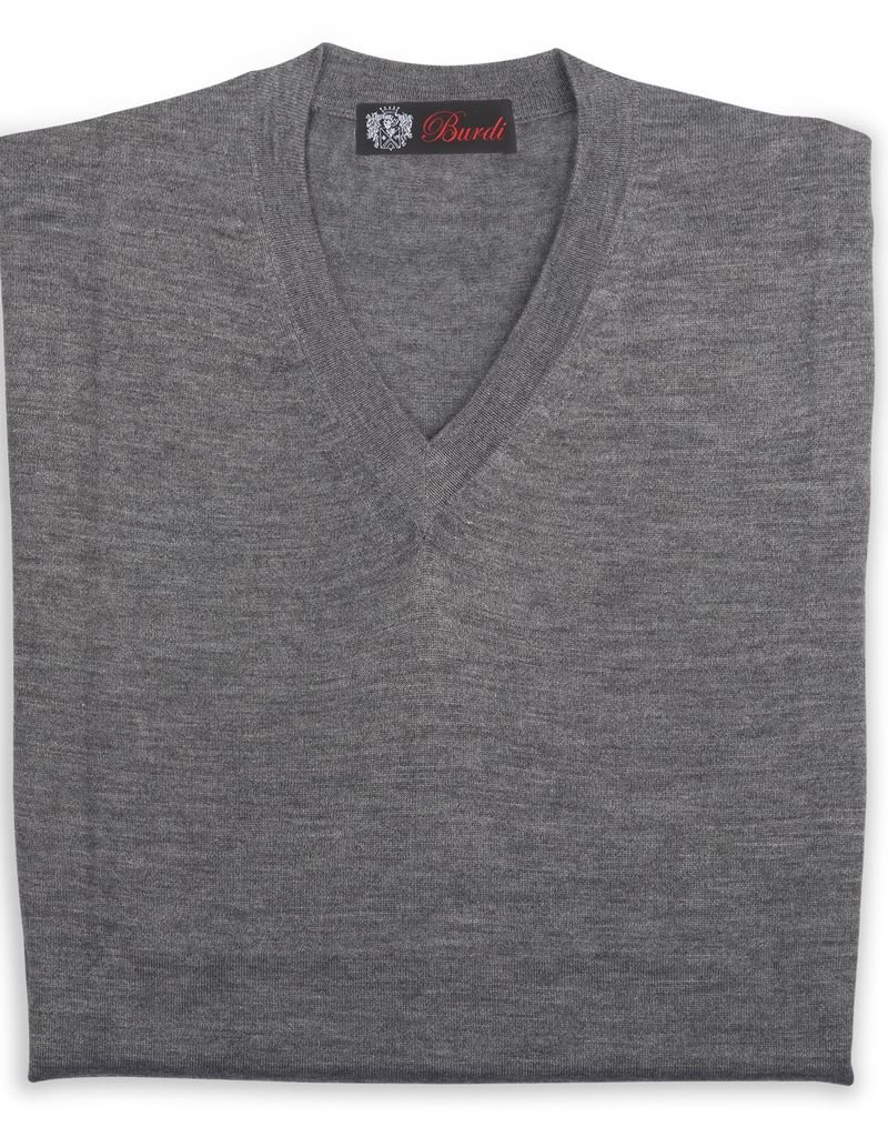 Cashmere / Silk V Neck Sweater, Gray