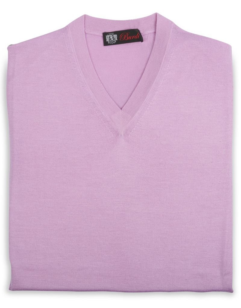 Cashmere / Silk V Neck Sweater, Lavender
