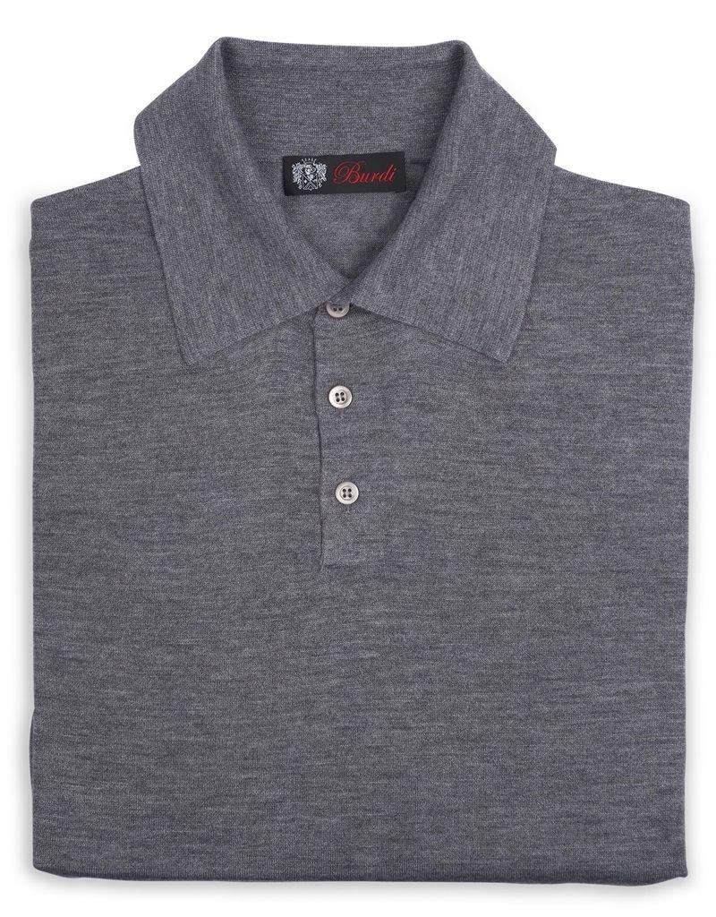Cashmere / Silk Polo Sweater, Gray
