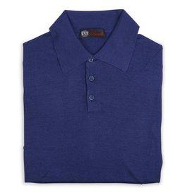 Cashmere / Silk Polo Sweater, Cobalt