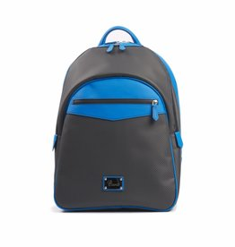 Carbon Fiber and Leather Backpack, Blue