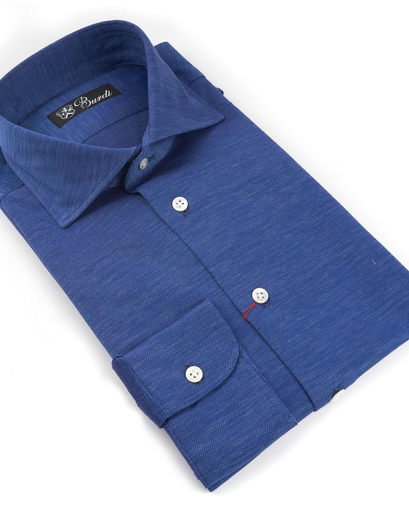 Jersey Knit Cotton Shirt, Sapphire