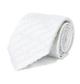 White Silk Tie with Silver Lamé Stripes