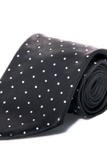 Black Silk Tie with Clear Swarovski Grid Pattern