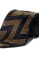 Black Silk Tie with Gold Swarovski Crystals