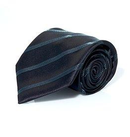 Black Silk Tie with Aqua Lamé Stripe