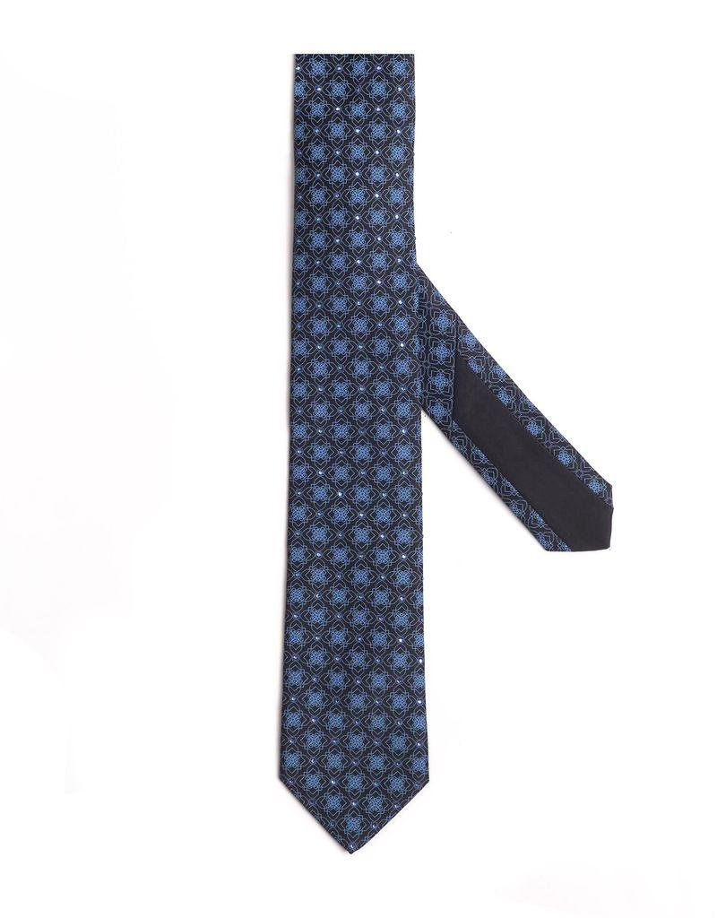 Black and Blue snowflake patterned Silk Tie with Hand-set Swarovski Crystals