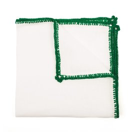 Linen pocket square with green crochet edge