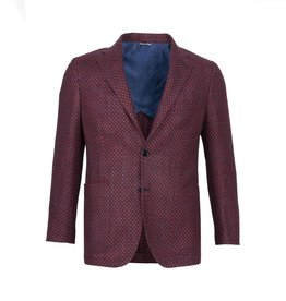 Inclusivo Unstructured Honeycomb Tweed Jacket - Red & Blue